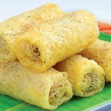 Crispy fried spring rolls with meat